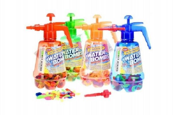 Teddies Pumpa na vodné bomby + bomby 100ks plast 30cm 4 farby