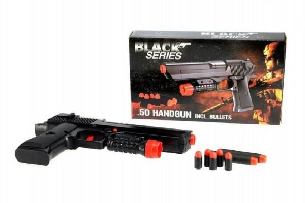 Teddies Pištoľ s nábojmi plast 24cm Black Series v krabici