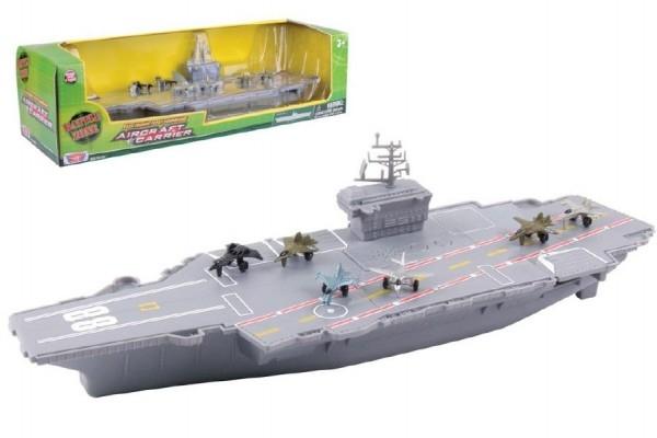 Teddies Lietadlová loď plast 45cm na batérie so zvukom so svetlom v krabici