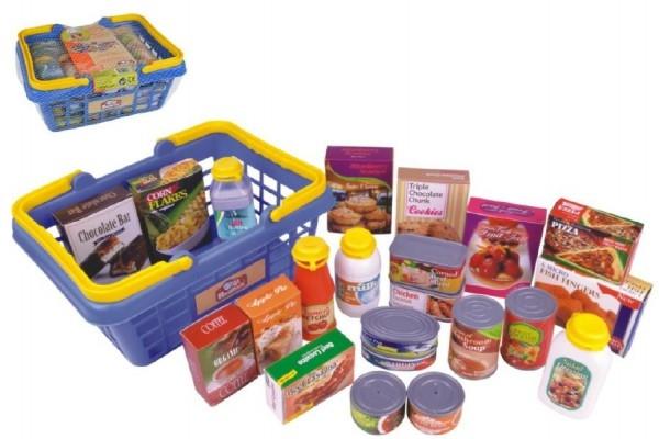Teddies Nákupný košík s potravinami 23ks plast 28x13x21cm v sieťke