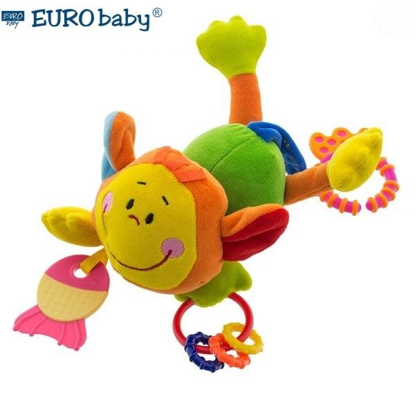 Závesná edukačné hračka s hrkálkou a hryzátkom - Opica - zelená