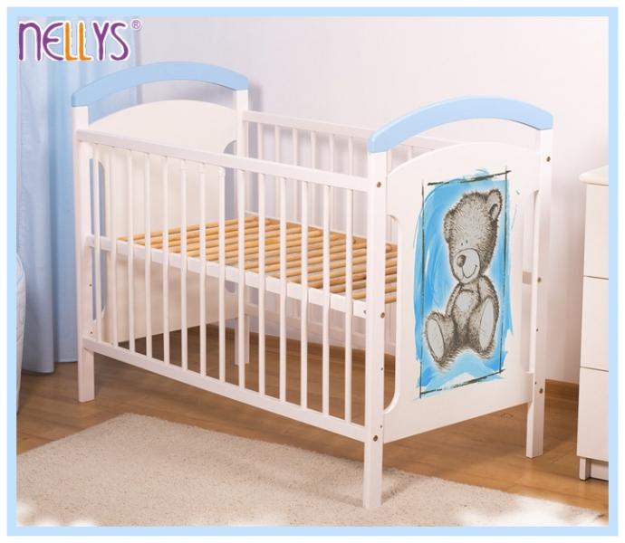 Drevená postieľka TEDDY Nellys - modrá / biela