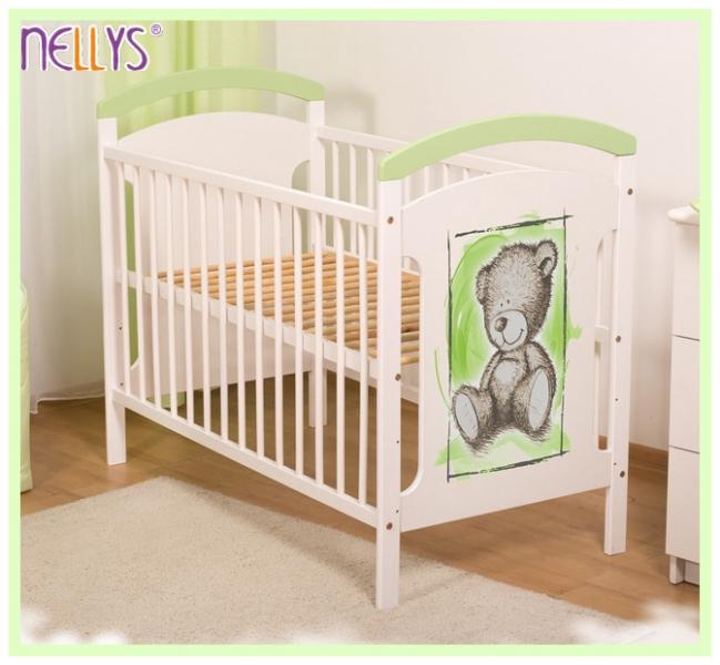 Drevená postieľka TEDDY Nellys - zelená / biela