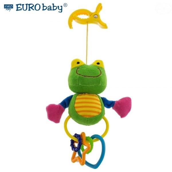 Plyšová hračka s klipom a hrkálkou - Žabička