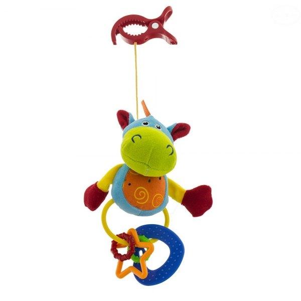 Euro Baby Plyšová hračka s klipom a hrkálkou - Hippo, Ce19
