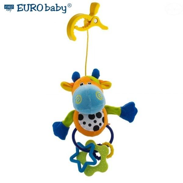 Euro Baby Plyšová hračka s klipom a hrkálkou - Kravička, Ce19