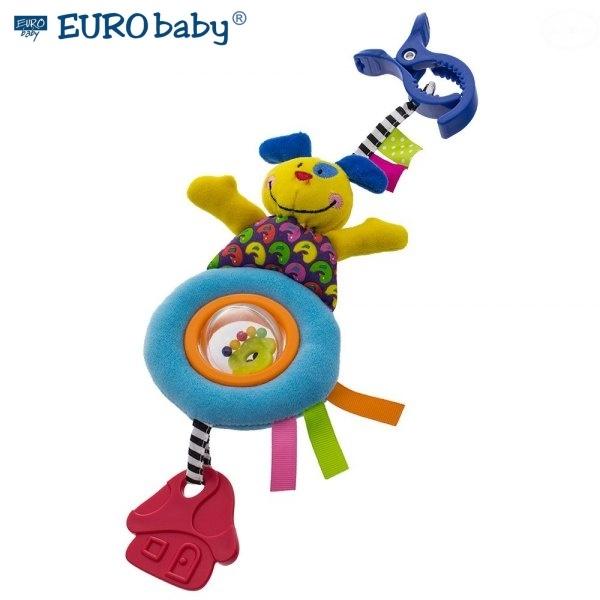 Euro Baby Plyšová hračka s klipom a hrkálkou - Psík, Ce19