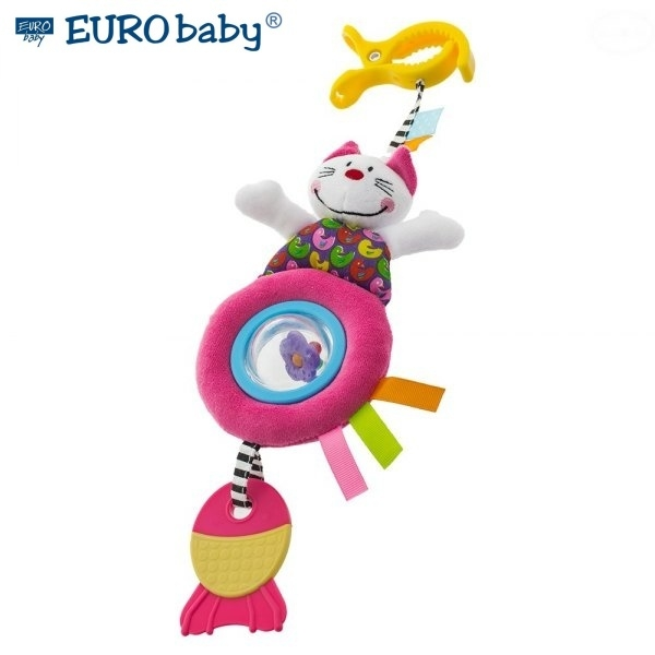 Euro Baby Plyšová hračka s klipom a hrkálkou - mačička, Ce19