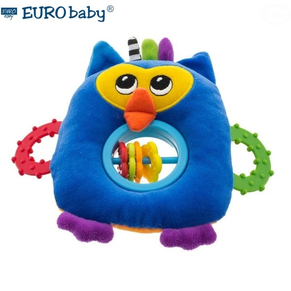 Euro Baby Plyšová hračka s hryzátkom a hrkálkou - Malá sova - modrá, D19