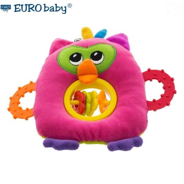 Euro Baby Plyšová hračka s hryzátkom a hrkálkou - Malá sova - ružová, D19