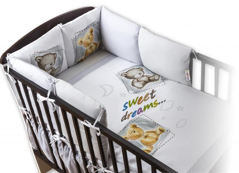 Baby Nellys Obliečky s vankúšikovým mantinelom Sweet Dreams by TEDDY - sivý