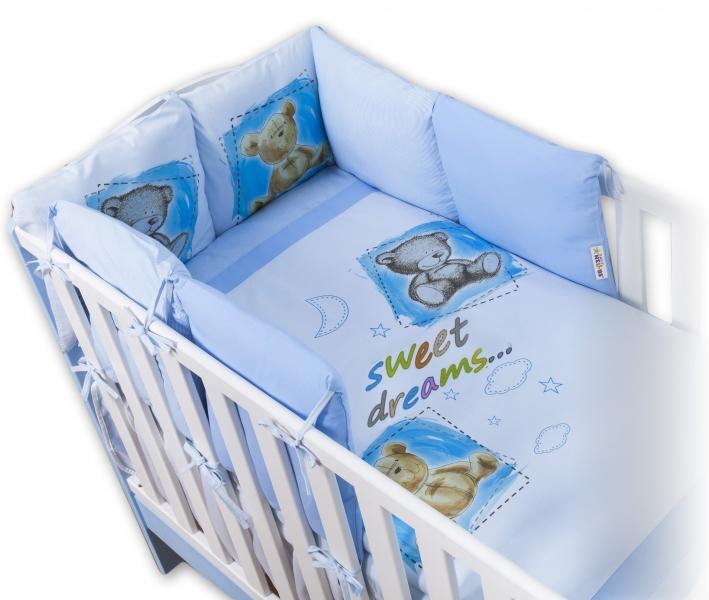Baby Nellys Obliečky s vankúšikovým mantinelom Sweet Dreams by TEDDY - modrý-120x90