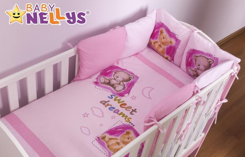 Obliečky s vankúšikovým mantinelom Sweet Dreams by TEDDY - ružový 120x90