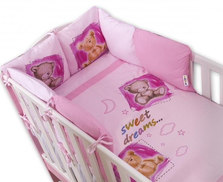 Baby Nellys Obliečky s vankúšikovým mantinelom Sweet Dreams by TEDDY - ružový, 135x100 cm
