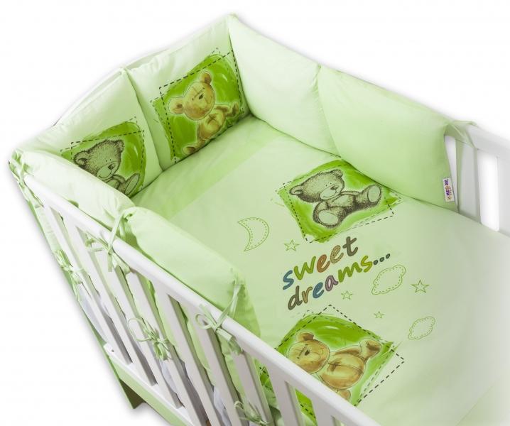 Baby Nellys Obliečky s vankúšikovým mantinelom Sweet Dreams by TEDDY - zelený
