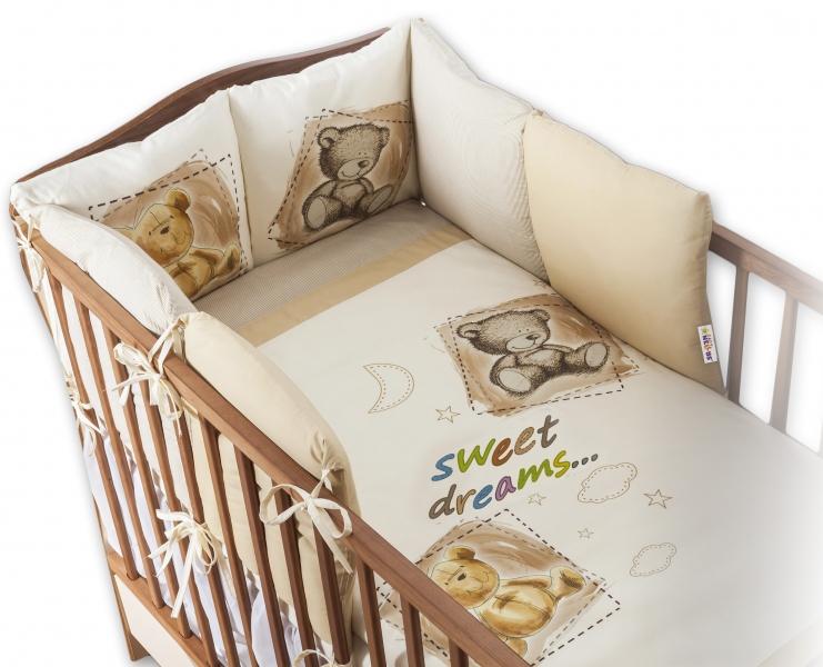 Baby Nellys Obliečky s vankúšikovým mantinelom Sweet Dreams by TEDDY - pískový