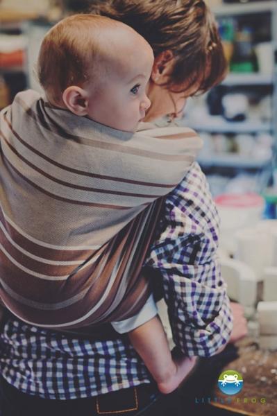 Little FROG Tkaný šatka na nosenie detí -  Tiger´s Eye