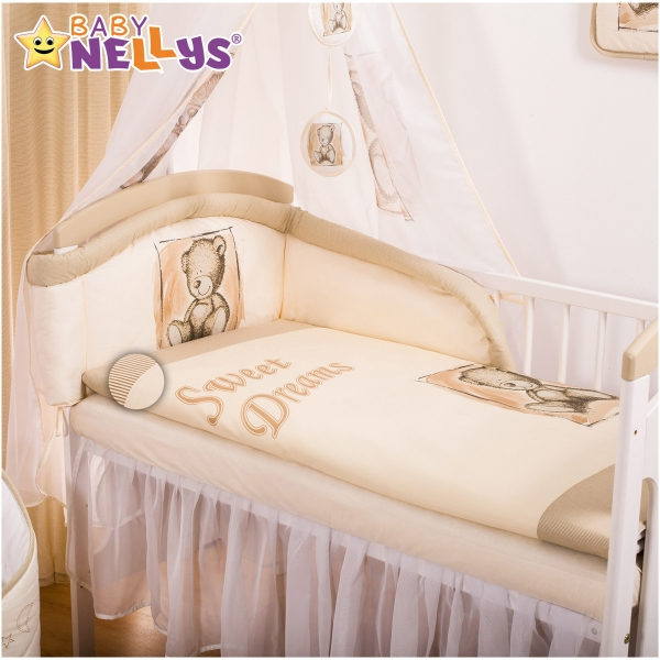 Baby Nellys Mantinel s obliečkami Sweet Dreams by Teddy - pieskový