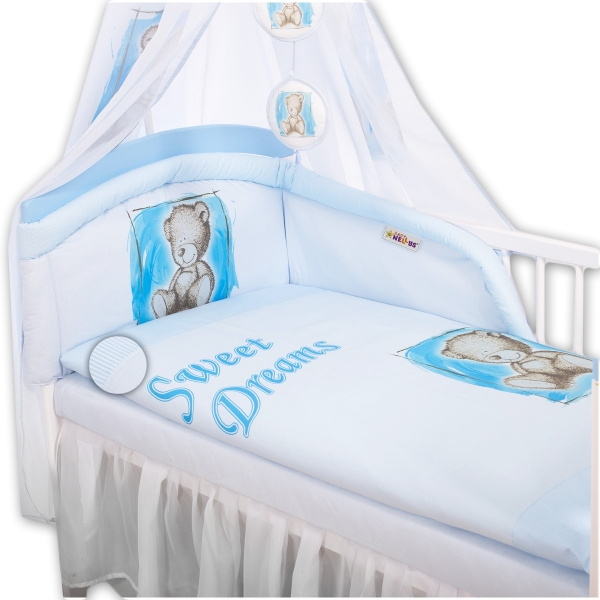 Baby Nellys Obliečky Sweet Dreams by Teddy - modrý, 135x100 cm