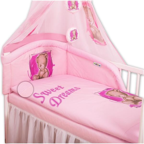 Baby Nellys Obliečky Sweet Dreams by Teddy - ružový, 120x90 cm