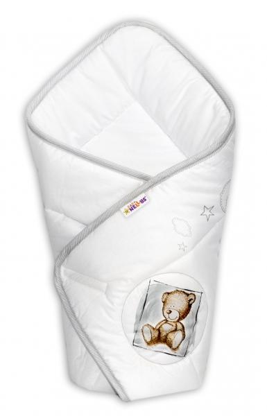 Zavinovačka Baby Nellys Sweet Dreams by Teddy - biala/sivý lem-Klasické