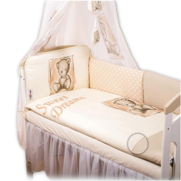 Baby Nellys Mantinel 360 cm s obliečkami Sweet Dreams by Teddy - pieskový-120x90