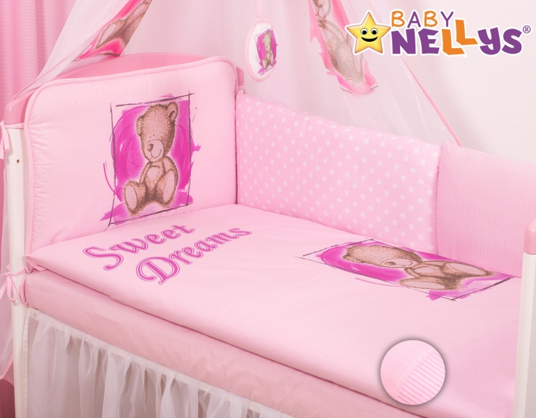 Baby Nellys Mantinel 360 cm s obliečkami Sweet Dreams by Teddy - růžový-120x90