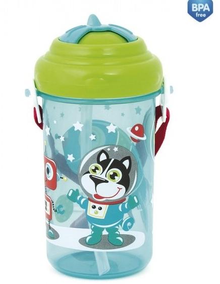 Športová nekvapkajúci fľaša s slamkou Canpol - Forest friends - modrá / zelené viečko