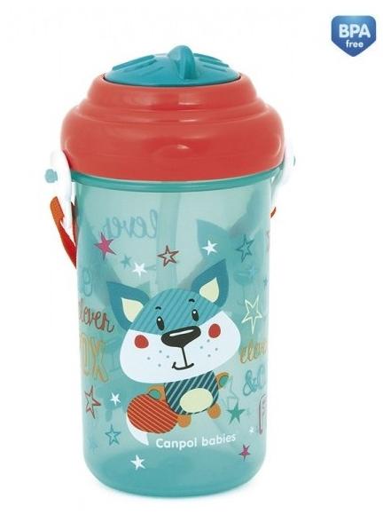 Športová nekvapkajúci fľaša s slamkou Canpol - Forest friends - modrá /červené viečko