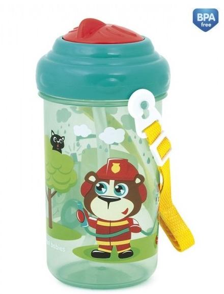 Športová nekvapkajúci fľaša s slamkou Canpol - Forest friends - zelená /tyrkysové viečko