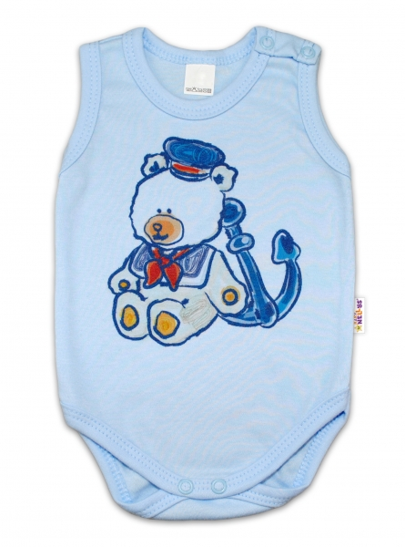 Body na ramienka Baby Nellys ® - Medvedík - námorník - modré, 62 (2-3m)