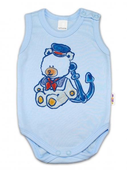 Body na ramienka Baby Nellys ® - Medvedík - námorník - modré, 74 (6-9m)