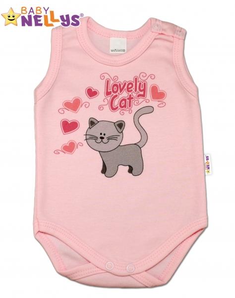 Body na ramienka Baby Nellys ® - Roztomilá mačička - sv. ružova