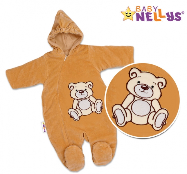 BABY NELLYS Kombinézka/overal Medvedík Teddy - tm. béžová