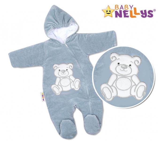 BABY NELLYS Kombinézka/overal Medvedík Teddy - šedá