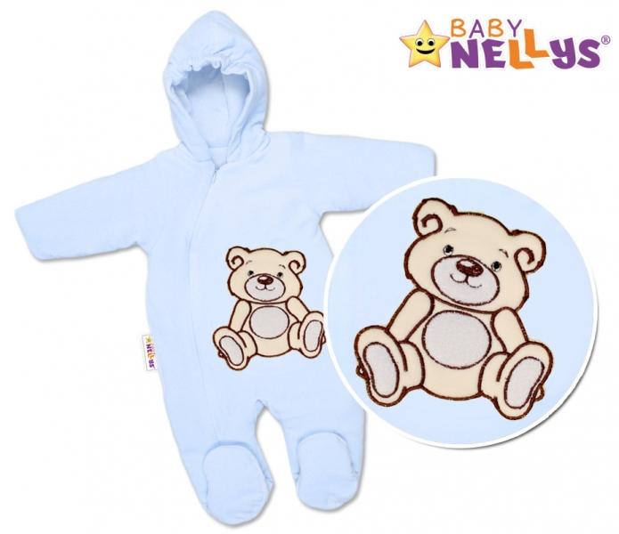 BABY NELLYS Kombinézka/overal Medvedík Teddy - modrá