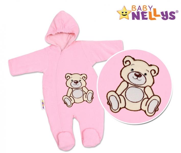 BABY NELLYS Kombinézka/overal Medvedík Teddy - ružová, veľ 74