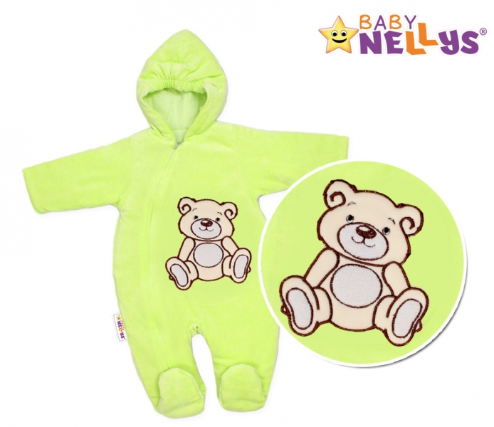 BABY NELLYS Kombinézka/overal Medvedík Teddy - zelená, veľ 74