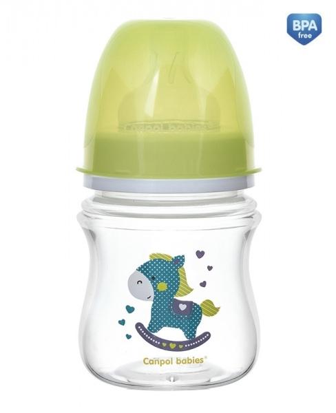 Antikoliková fľaštička so širokým hrdlom Canpol Babies EasyStart - TOYS 120 ml - zelená