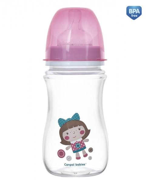 Antikoliková fľaštička so širokým hrdlom Canpol Babies EasyStart - TOYS 240 ml - ružová