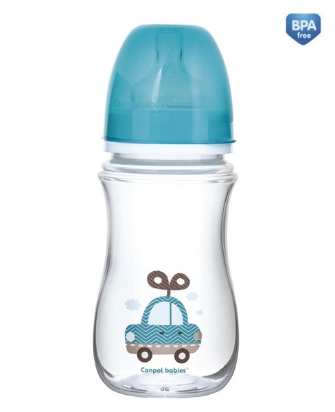 Antikoliková fľaštička so širokým hrdlom Canpol Babies EasyStart - TOYS 240 ml - modrá