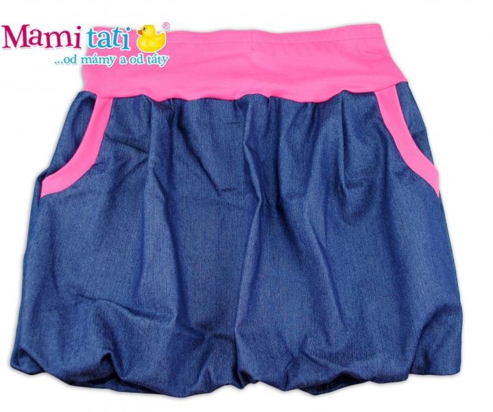 Mamitati Balónová sukně NELLY  - jeans denim granát/ růžové lemy