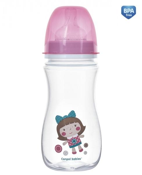 Antikoliková fľaštička so širokým hrdlom Canpol Babies EasyStart - TOYS 300 ml - ružová