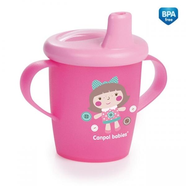 Nevylévací hrnček Canpol Babies Anywayup TOYS - ružový, 250 ml