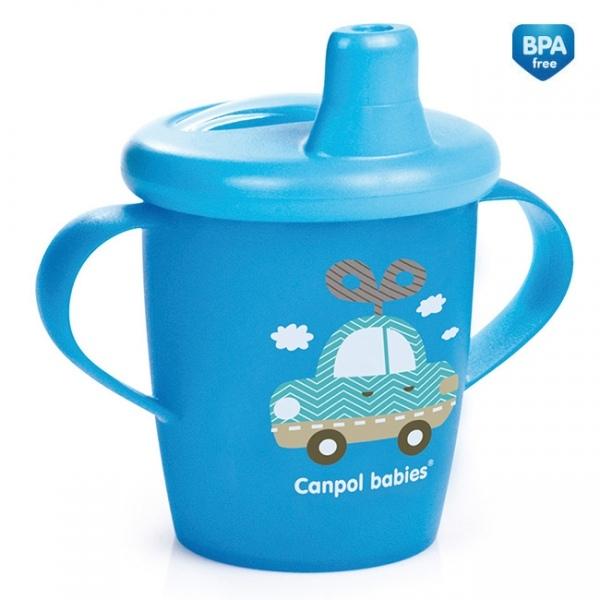 Nevylévací hrnček Canpol Babies Anywayup TOYS - modrý, 250 ml