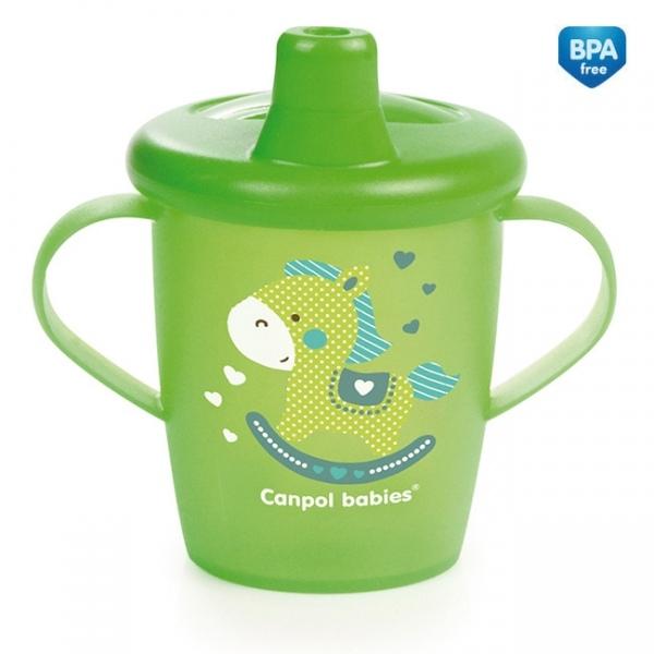 Nevylévací hrnček Canpol Babies Anywayup TOYS - zelený, 250 ml