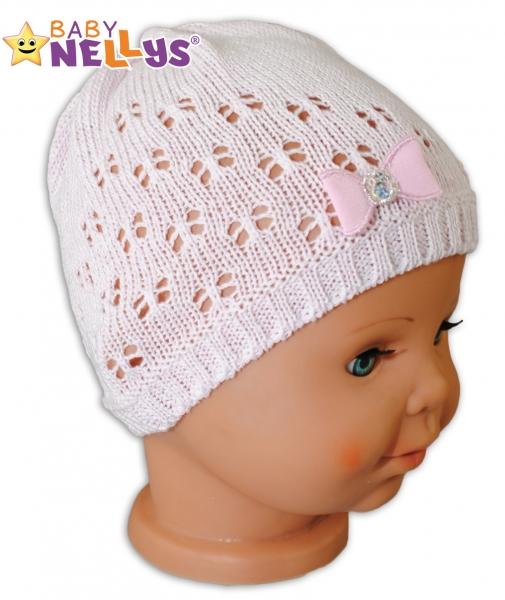 Háčkovaná čiapočka Mašlička Baby Nellys ® - s flitry-42/46 čepičky obvod
