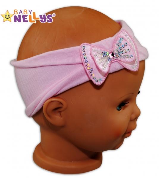Čelenka Baby Nellys ® s mašli a flitry - sv. ružová