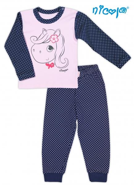 Bavlnené pyžamko NICOL LOVELY PONY - Pony v růžové/tm. modré
