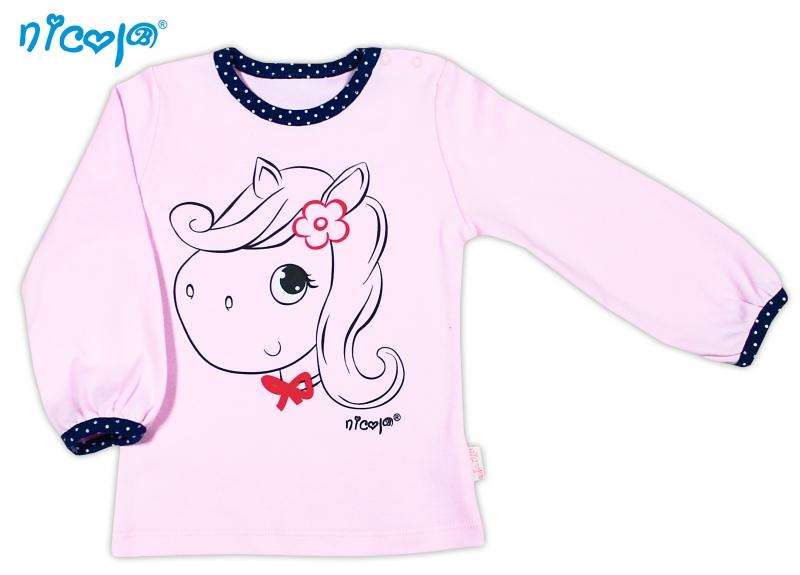 Bavlnené tričko NICOL  LOVELY PONY dlhý rukáv - Pony v ružovom